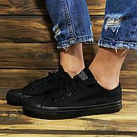 Кеды женские Converse All Star - черные, в стиле Конверс, материал - текстиль, код DR-00050