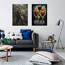 """Постер """"Сталкер, классический постер"""". Stalker, Чернобыль, Припять, Зона, радиация. Размер 60x42см (A2). Глянцевая бумага, фото 3"""