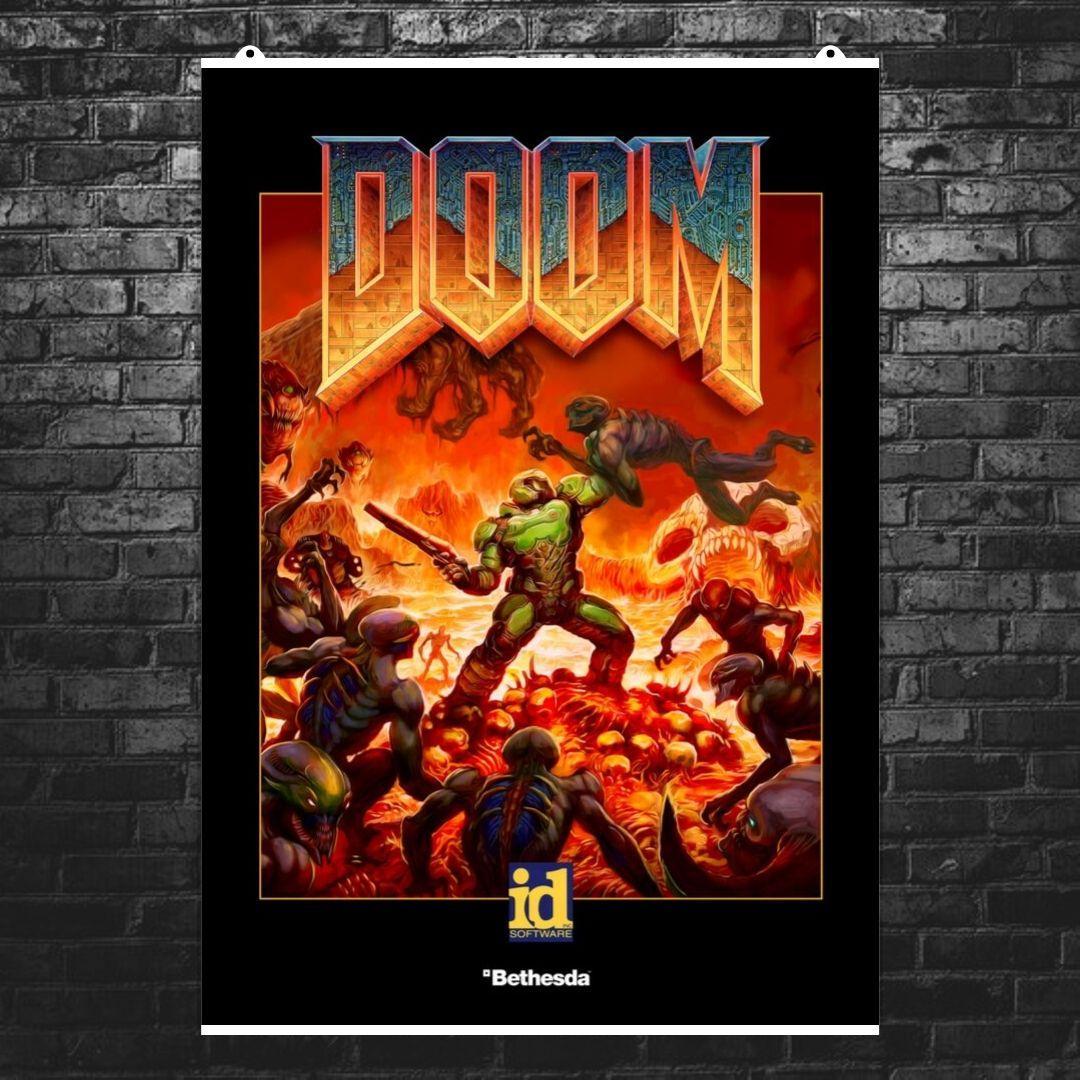 """Постер """"Doom. Обновлённый классический постер"""". Дум. Размер 60x42см (A2). Глянцевая бумага"""