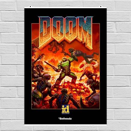 """Постер """"Doom. Обновлённый классический постер"""". Дум. Размер 60x42см (A2). Глянцевая бумага, фото 2"""