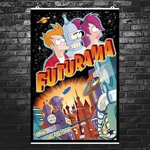 "Постер ""Футурама. Классическая троица"". Futurama. Размер 60x40см (A2). Глянцевая бумага"