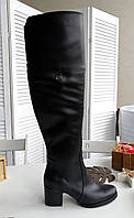 Шкіряні ботфорти з обтяжным каблуком, фото 1