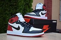 Кроссовки Nike Air Jordan 1 Retro High мужские, бело-черно-красные, в стиле Найк Джордан, код OD-1844