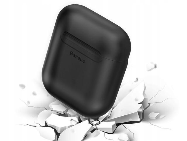 Силиконовый чехол с беспроводной зарядкой для зарядного кейса AirPods Baseus Wireless Charger Черный / Красный