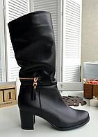 Шкіряні зимові підлозі чоботи на підборах, фото 1