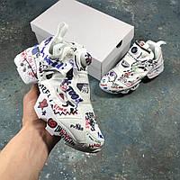 Кроссовки Reebok Insta Pump x Vetemens мужские, белые, в стиле Рибок Инста Памп,текстиль, код IN-247