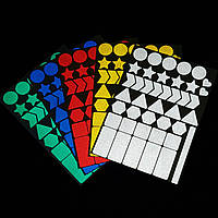 Светоотражающие наклейки на детские коляски, ранцы, портфели, одежду, обувь. Лист А5 одного цвета, 41 элемент.