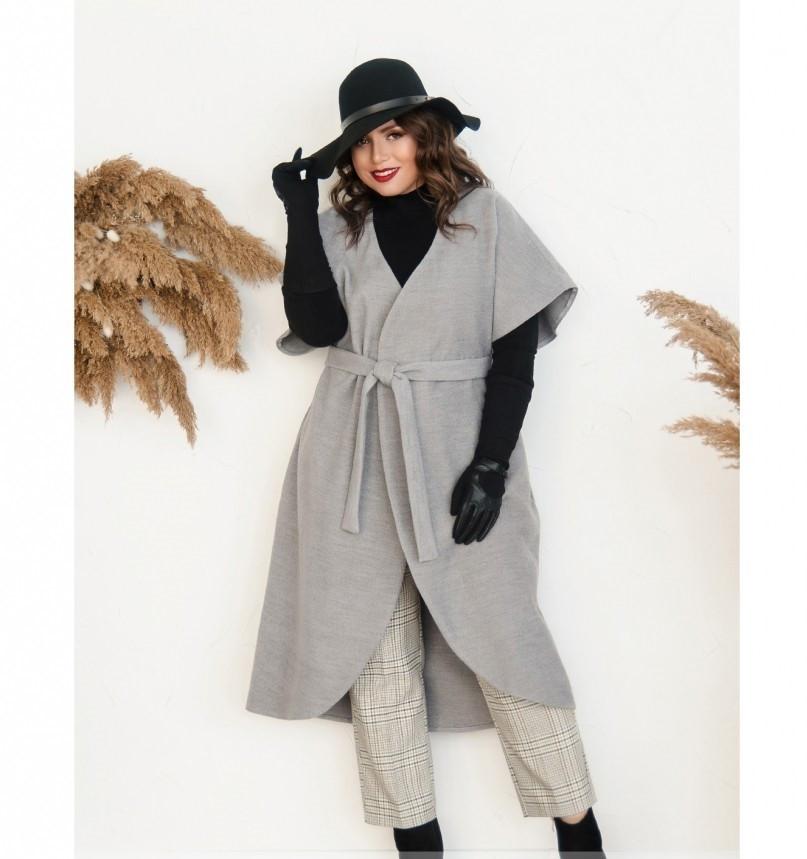 Пальто без застёжек и подкладки №134Б-Серый