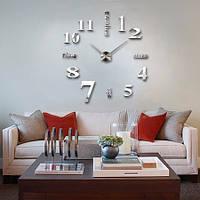 3D-Часы 100 см Надписи серебристые зеркальные наклейки стикеры настенные большие [Пластик]