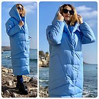 Пуховик кокон длинный зимний в стиле одеяло M500 голубой небесный / нежно голубого цвета