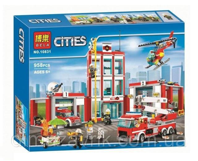 """Конструктор Bela 10831 (Аналог Lego City 60110) """"Пожарная часть""""958 деталей"""