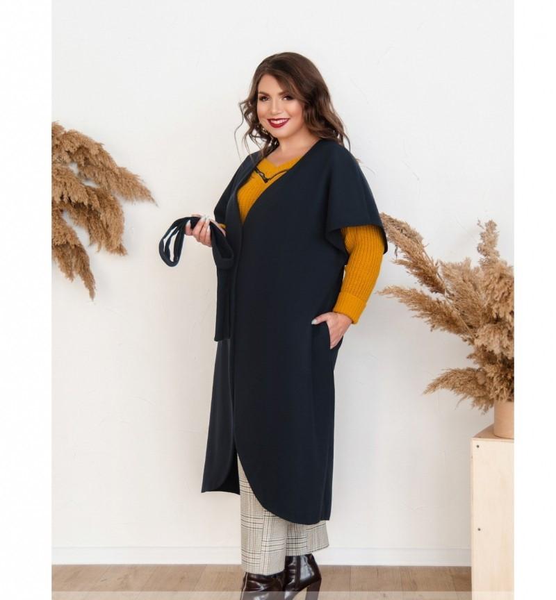 Пальто без застёжек и подкладки №134Б-Синий