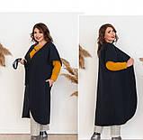 Пальто без застёжек и подкладки №134Б-Синий, фото 3