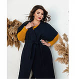 Пальто без застёжек и подкладки №134Б-Синий, фото 2