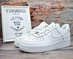 Мужские кожаные кроссовки Nike Air Force 1 Low White Найк Аир Форс низкие белые