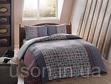 Комплект постельного белья из фланели полуторный размер ТМ Tac Grey mavi