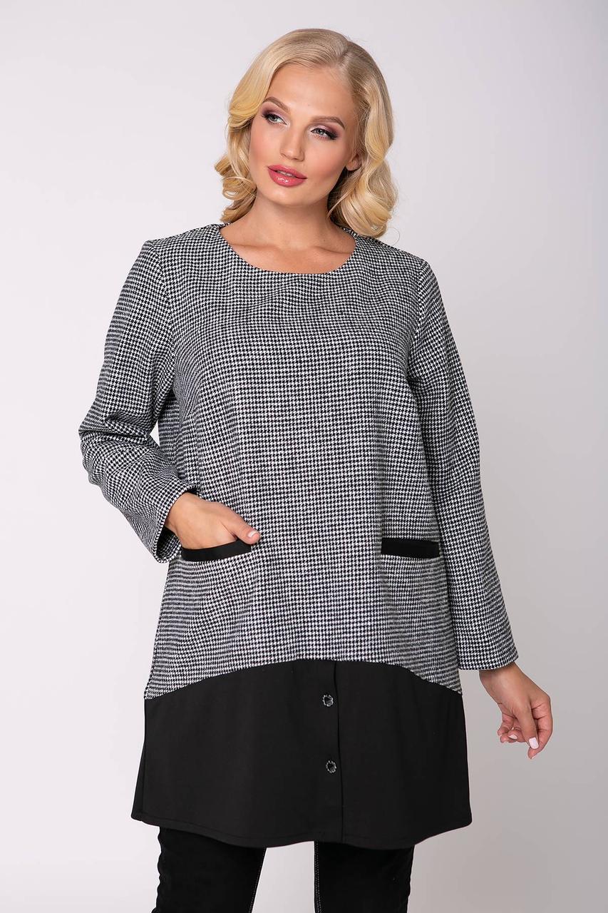Модная женская теплая туника  с карманами  в мелкую клеточку с 54 по 62  размер