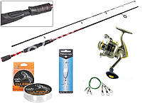 Рыболовный набор 5в1 Спиннинг Spry spin Тест 5-20г, Катушка Yong Chang CX-2000 6bb