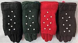 Замшевые перчатки для девочек 2в1 (5-10 лет)  шерсть+акрил оптом со склада в Одессе