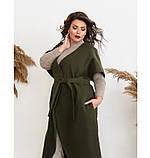 Пальто без застёжек и подкладки №134Б-Хаки, фото 2