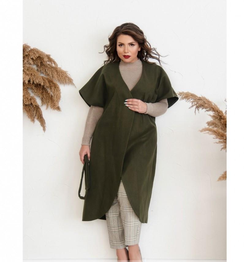 Пальто без застёжек и подкладки №134Б-Хаки