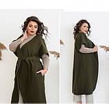 Пальто без застёжек и подкладки №134Б-Хаки, фото 4
