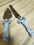Нож и лопатка для свадебного торта Brooch (бело-серебряные), фото 2