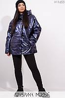 Куртка прямого кроя с капюшоном Разные цвета Большие размеры Батал