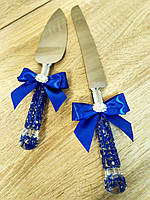 Нож и лопатка для свадебного торта Узоры (синие)