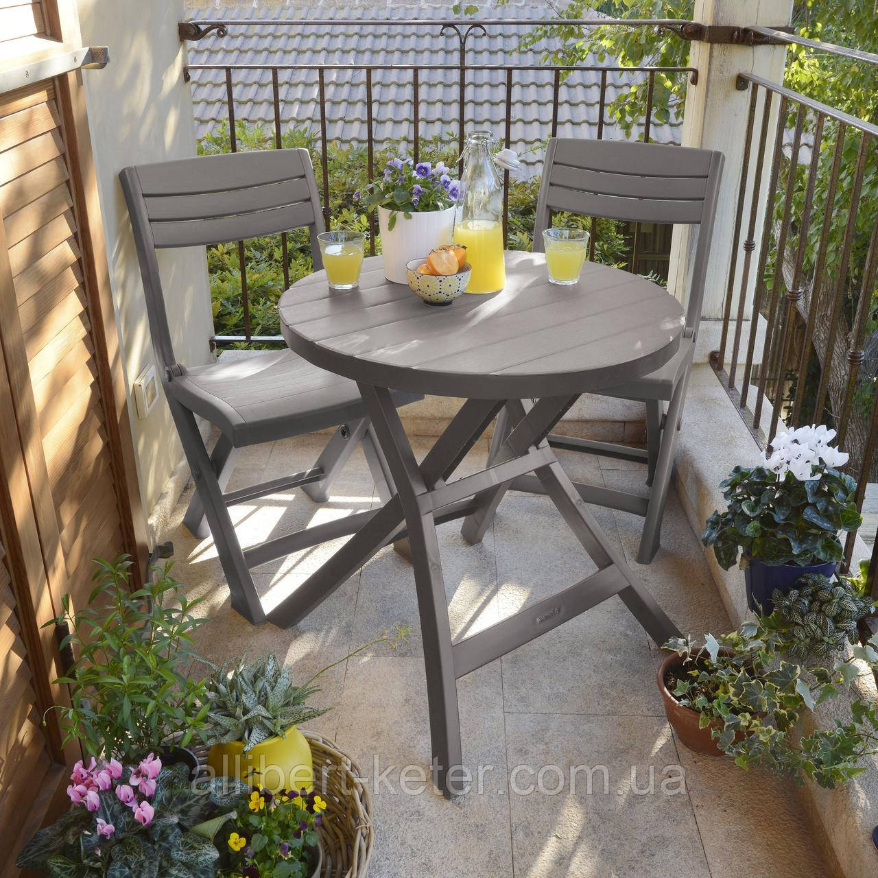 Набір садових меблів Jazz Set Cappuccino ( капучіно ) з штучного ротанга ( Allibert by Keter )