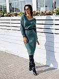 Женское вязаное платье кашемир шерсть до колен с V вырезом тёплое прямое (в расцветках), фото 3