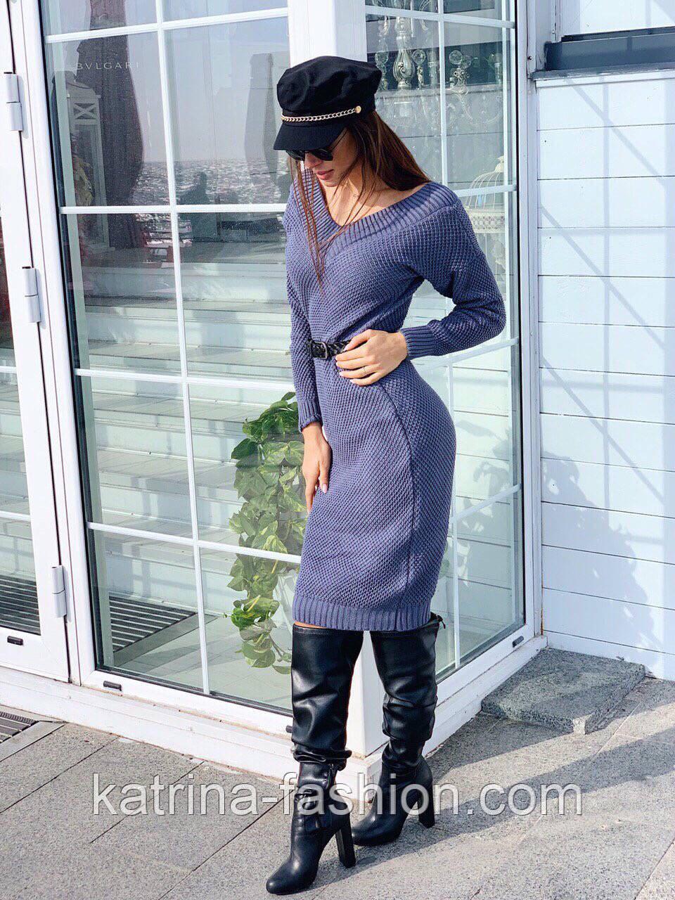 Женское вязаное платье кашемир шерсть до колен с V вырезом тёплое прямое (в расцветках)