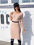 Женское вязаное платье кашемир шерсть до колен с V вырезом тёплое прямое (в расцветках), фото 6