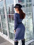 Женское вязаное платье кашемир шерсть до колен с V вырезом тёплое прямое (в расцветках), фото 2