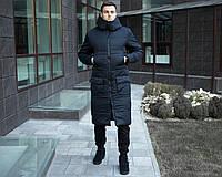 """Куртка мужская Pobedov """"Tank""""теплая длинная стильная с карманами на молнии (темно-синяя), ОРИГИНАЛ"""