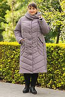 Пальто зимнее большого размера  SER-P55 (5 расцветок), фото 1