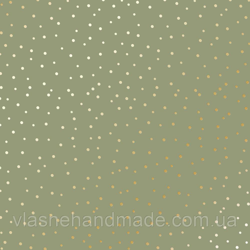 Папір односторонній з фольгуванням - Golden Drops Olive - Fabrika Decoru - 30x30