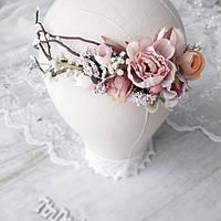 Венок белый на голову с пионами. Венок для фотосессии Свадебный венок. Венок нежный.Венок с полевых цветов.