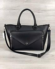 Жіноча чорна ділова сумка кошик добротна крута велика стильна сумка шоппер чорного кольору