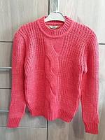 Кофта, светр, для дівчинки терракотова весна-осінь, зима в'язана