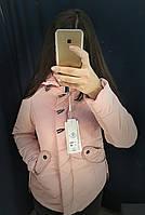 Женская куртка с капюшоном цвет пудра размер М(44)