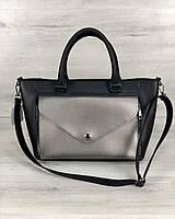 Черная сумка 54531 деловая саквояж с ремешком через плечо и ручками, фото 1