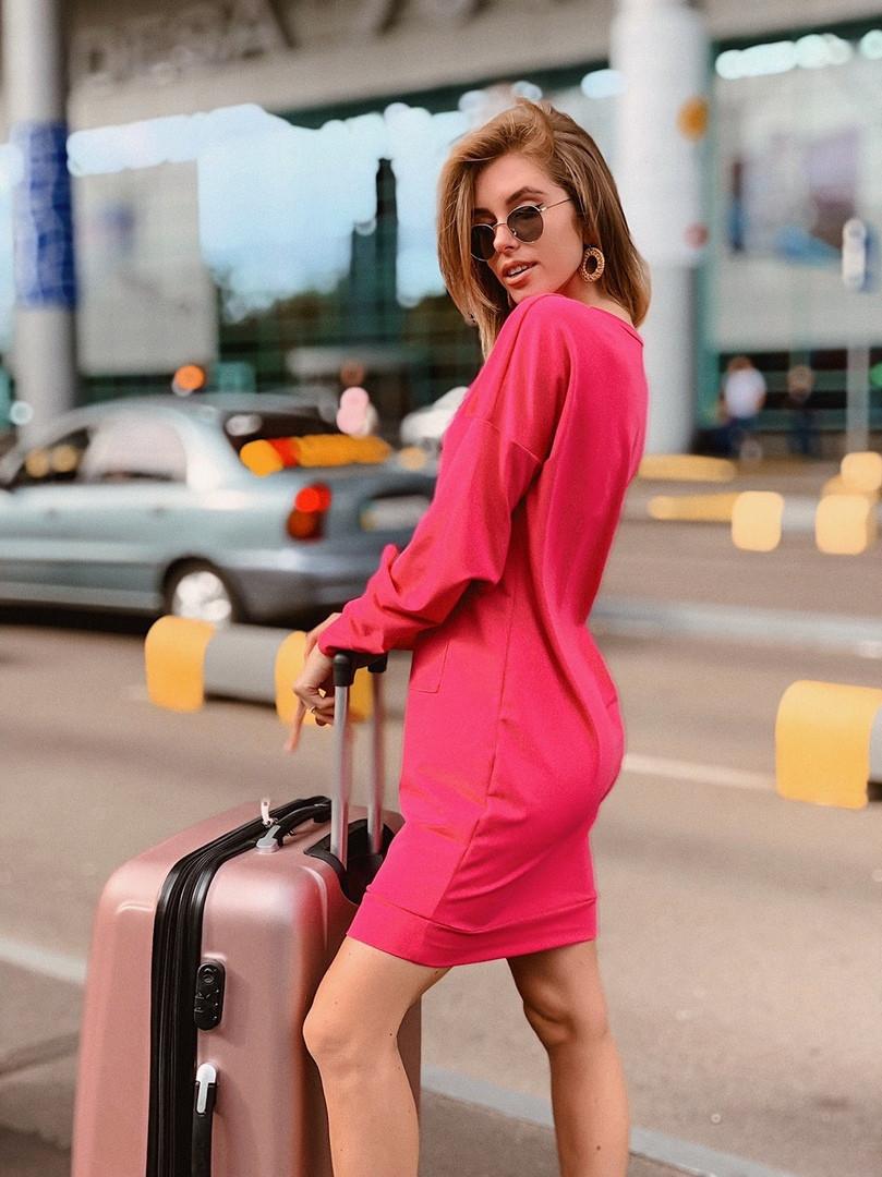 Короткое женское платье-худи - беж, чёрный ,розовый - фото 2