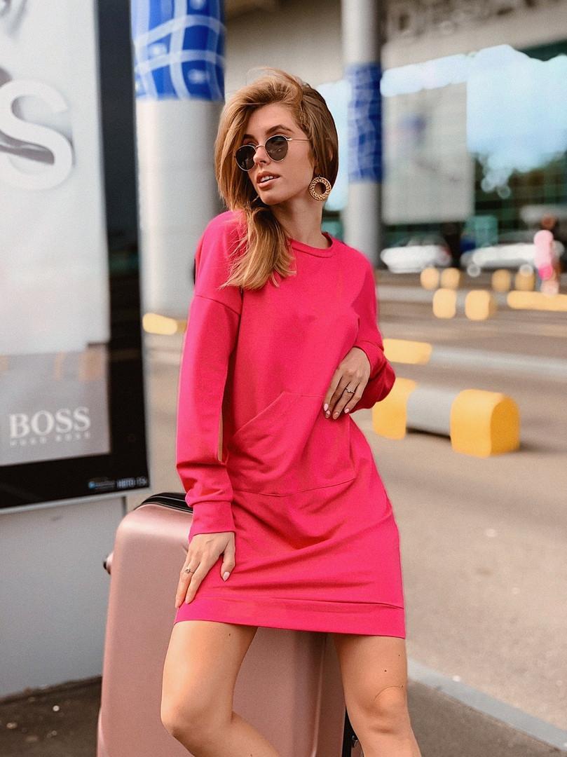 Короткое женское платье-худи - беж, чёрный ,розовый - фото 1