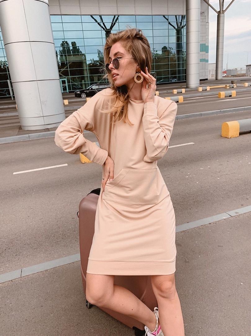 Короткое женское платье-худи - беж, чёрный ,розовый - фото 4