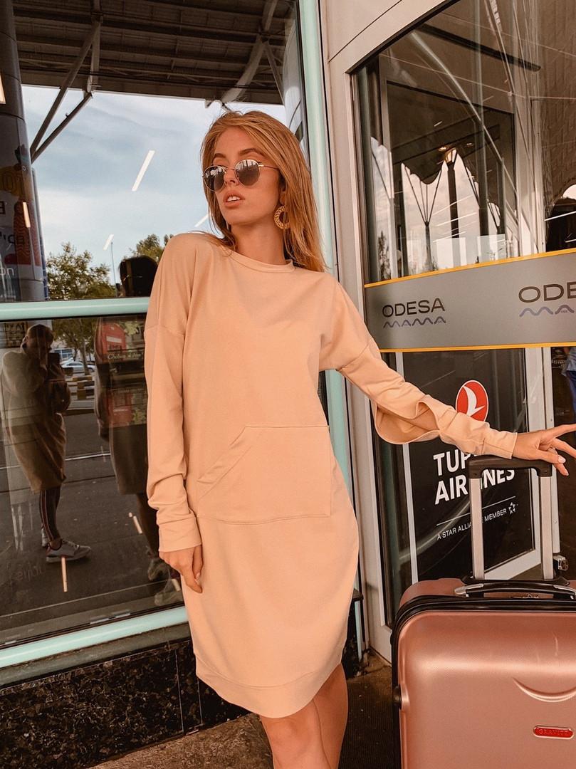 Короткое женское платье-худи - беж, чёрный ,розовый - фото 5