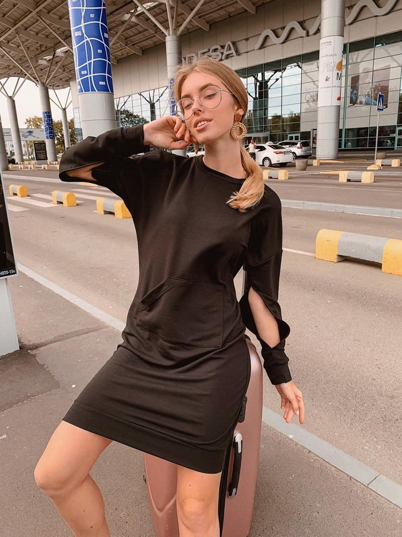 Короткое женское платье-худи - беж, чёрный ,розовый - фото 7
