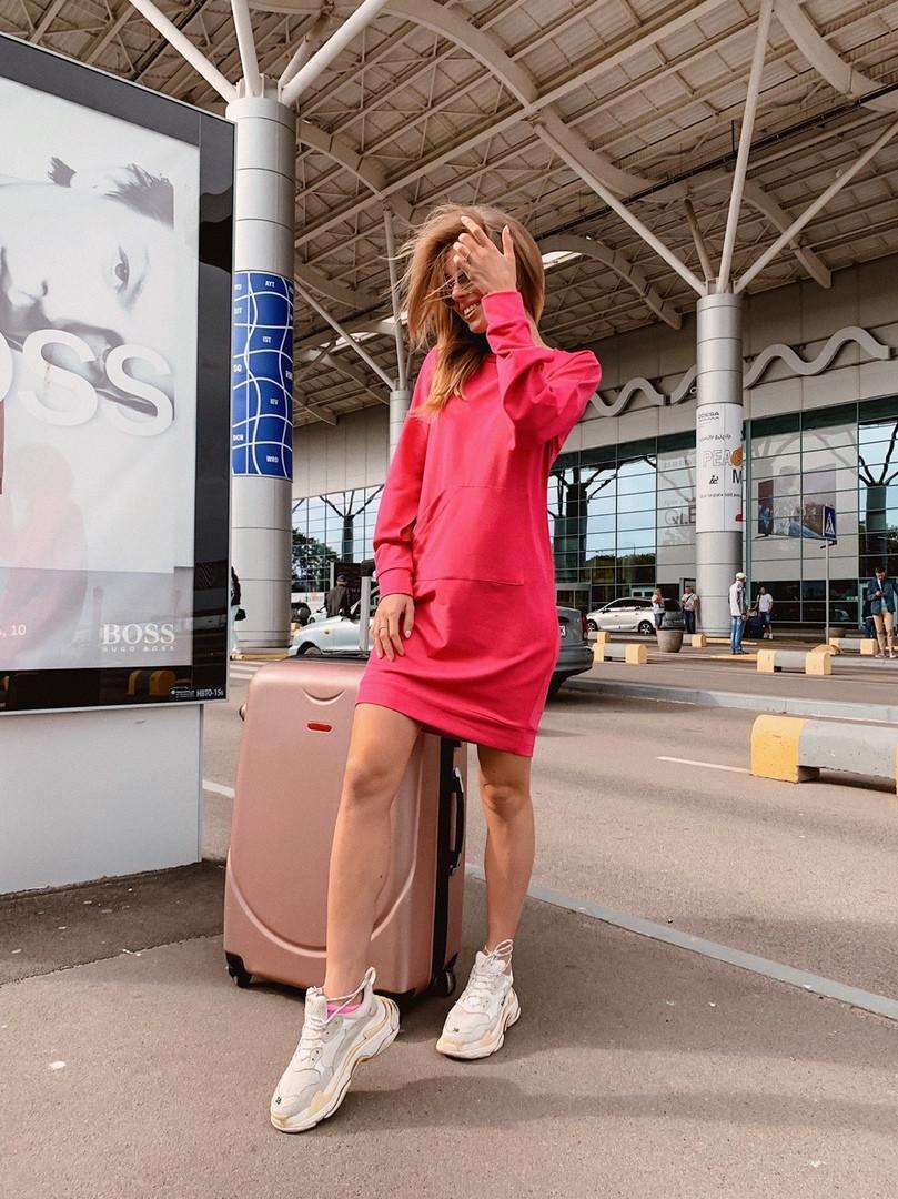Короткое женское платье-худи - беж, чёрный ,розовый - фото 3