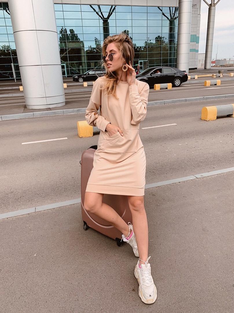 Короткое женское платье-худи - беж, чёрный ,розовый - фото 6