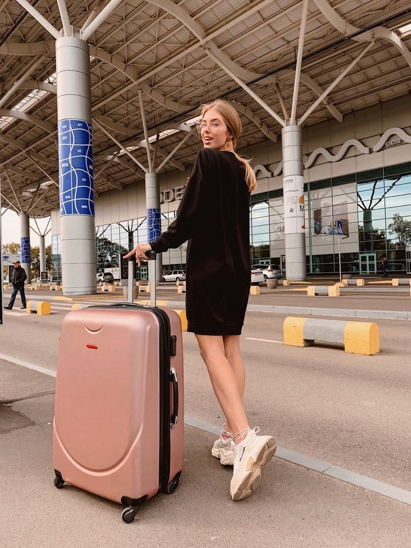 Короткое женское платье-худи - беж, чёрный ,розовый - фото 9
